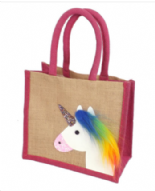Pink Trim Unicorn Design Jute Small Bag
